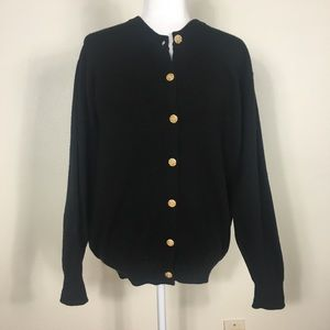 Johnstons Black Wool Gold Button Front Cardigan